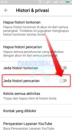 cara menghapus riwayat pencarian youtube android