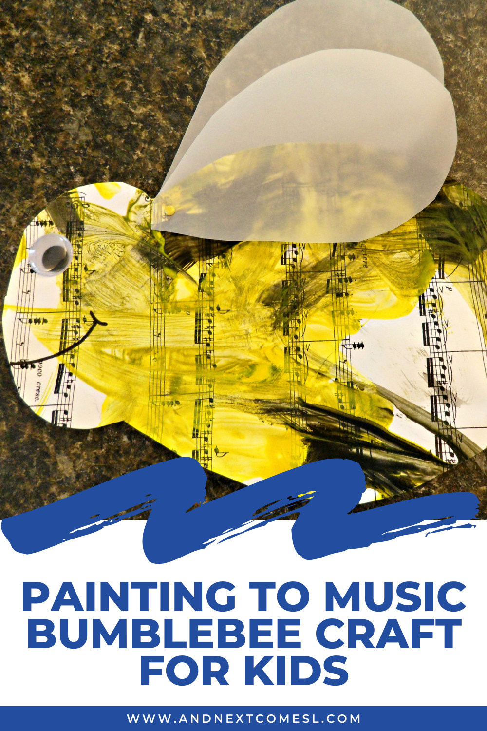Preschool painting to music activity & bumblebee craft idea - great for studying Flight of the Bumblebee with kids