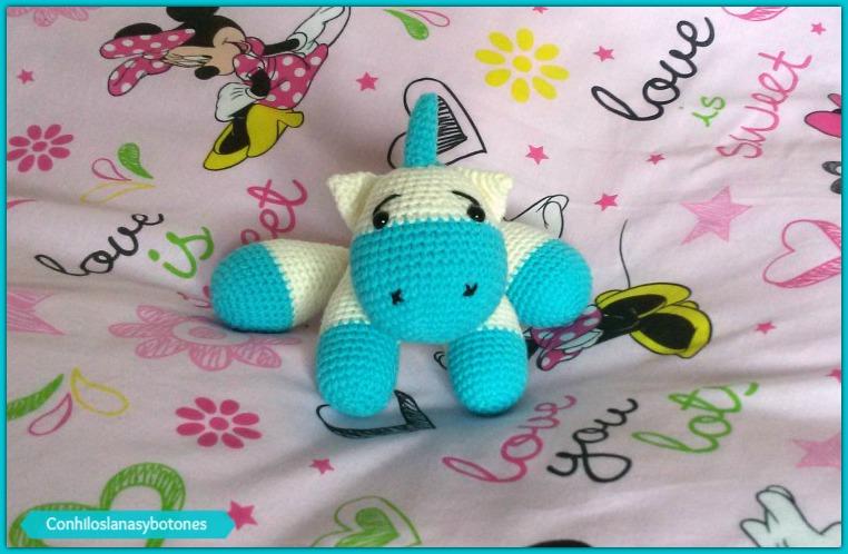 Conhiloslanasybotones: bebé unicornio azul amigurumi