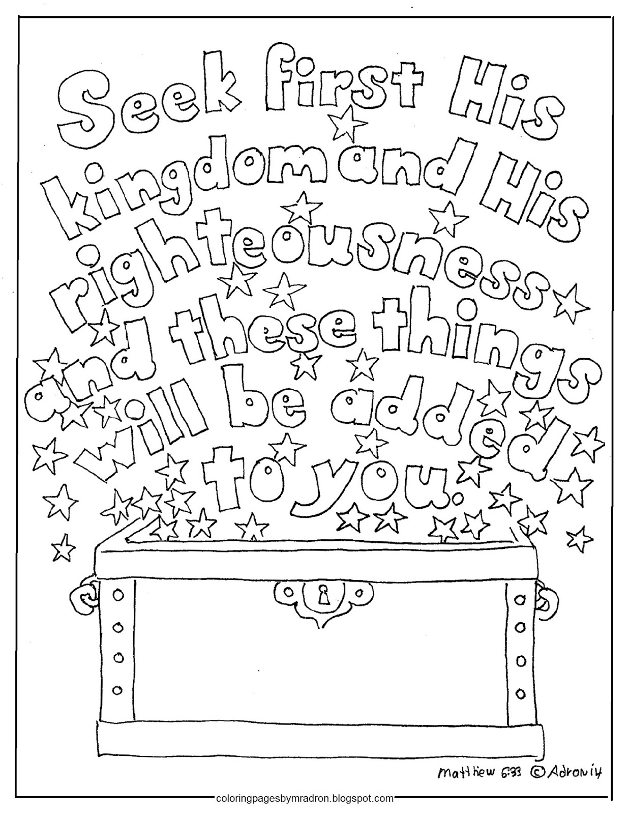 Coloring pages for kids by mr adron seek first his for Matthew 6 25 34 coloring page