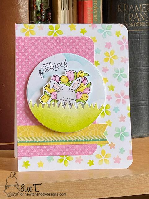 No peeking by Sue features Hop Into Spring, Newton's Curious Christmas, Petite Flower, Land Borders, Frames & Flags by Newton's Nook Designs; #newtonsnook