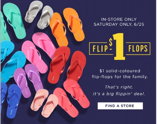 Old Navy $1 Flip Flops Sale