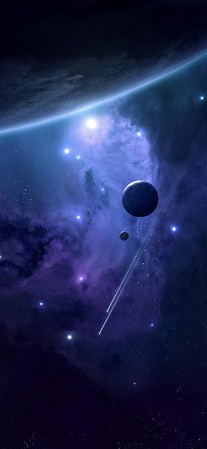 spazio, sfondo scuro, comete, galassie e pianeti