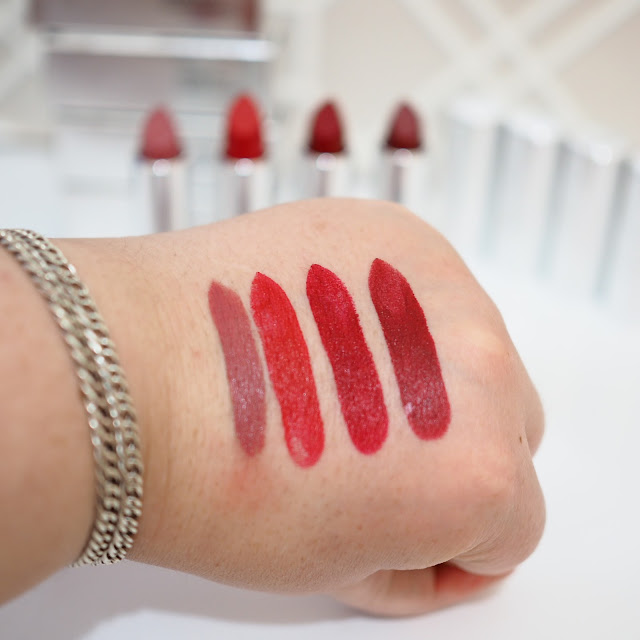 Zelens Extreme Velvet Lipstick swatches in Nude Plum, Red, Dark Red and Velvet Get Lippie 20170219