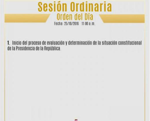 Orden del día de la Asamblea Nacional para este martes