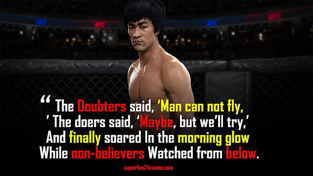 The doubters said, 'Man can not fly,' The doers said, 'Maybe, but we'll try,' And finally soared In the morning glow While non-believers Watched from below.