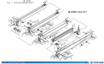 Đốt cần và xy lanh ra vào cần của cẩu Soosan 3 tấn SCS323-SCS314-SCS324-SCS333-SCS334-SCS335
