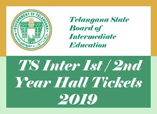 TS Intermediate Hall tickets 2019, TS Intermediate 1st year / 2nd year Hall tickets 2019, Telangana Inter Hall tickets 2019
