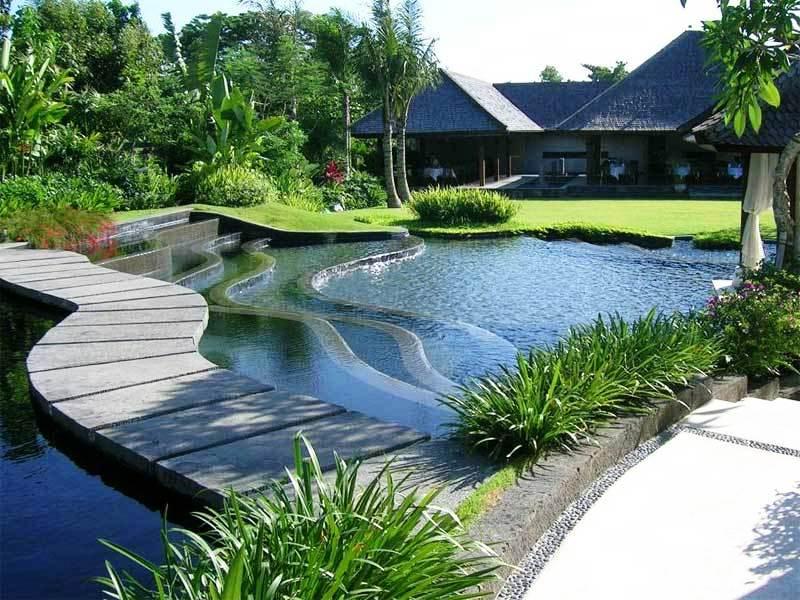 Desain Taman Minimalis Dengan Kolam Ikan Rumah Mewah