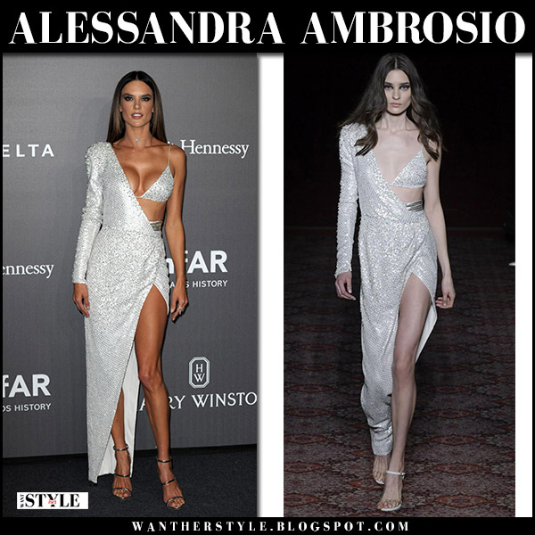 Alessandra Ambrosio in silver crystal gown at amfAR Gala milan september 21 2017 red carpet julien macdonald