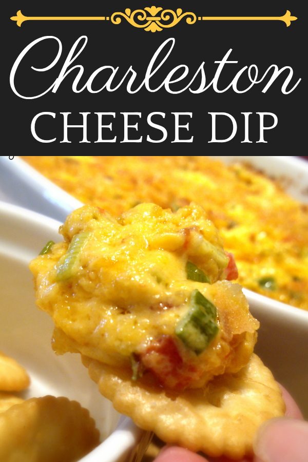A warm and creamy Southern Baked pimento cheese dip recipe with bacon, green onions and cracker crumb topping. #charleston #pimentocheese