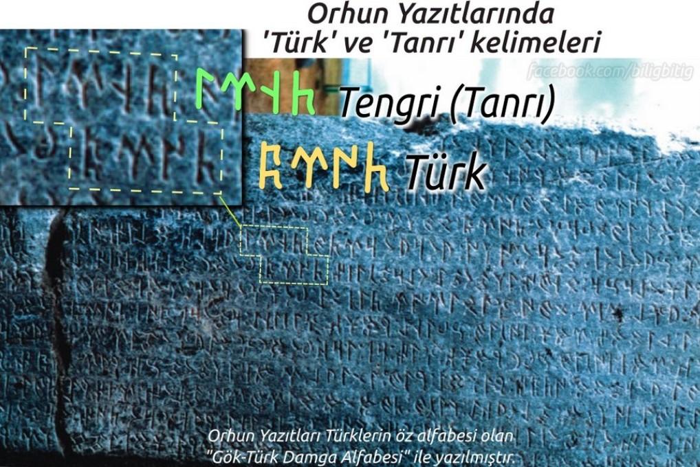Orhun Yazıtları - Göktürkçe Türk ve Tanrı kelimeleri