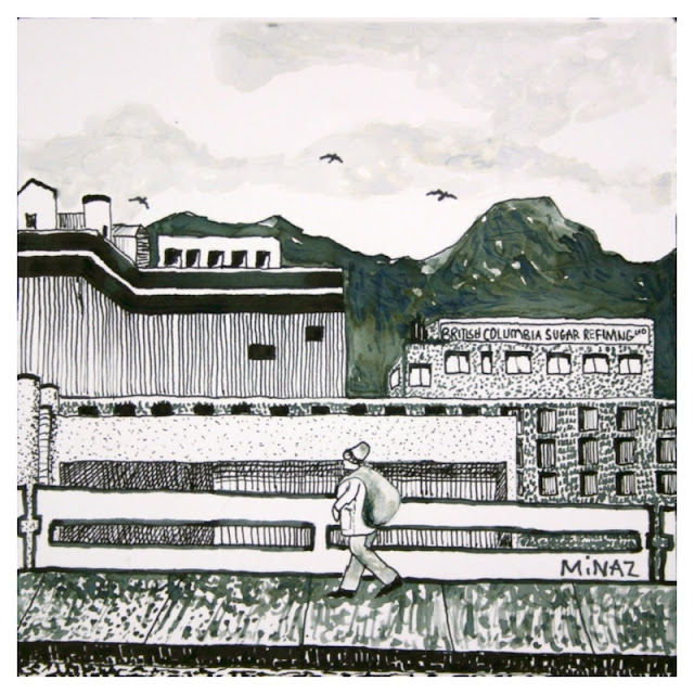 Vancouver Bike Ride: British Columbia Sugar Refining Ltd. Ink on Bristol Paper by Minaz Jantz