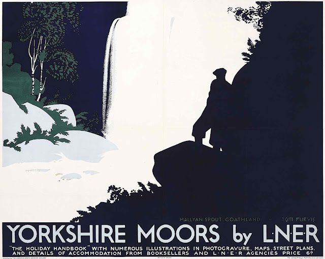 a Tom Purvis poster 1925, Yorkshire Moors by LNER, a man in silhouette at a waterfall