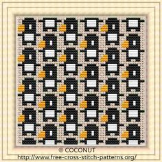 Mini penguin, Pattern for Coasters, Free and easy printable cross stitch pattern
