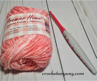 Premier home color splash cotton yarn and a 5.00mm crochet hook