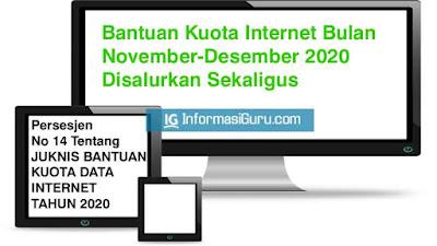 Kemendikbud Bagikan Sekaligus Bantuan Kuota Internet Untuk Bulan November dan Desember 2020