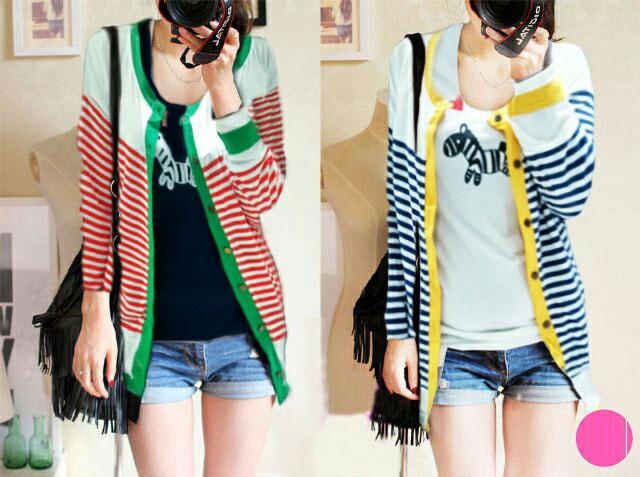 Jual Baju Lengan Panjang 2 In 1 Lovely Stripes Outer - 13384