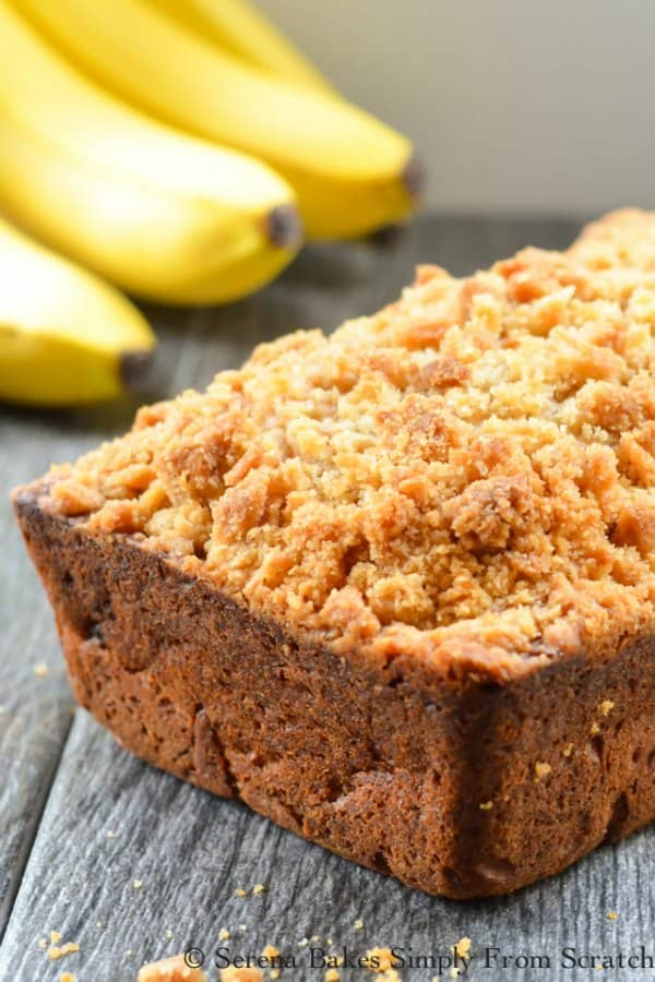 Loaf of Banana Bread Coffee Cake with a brown sugar crumb. A favorite for breakfast, brunch, or dessert! Super moist and tender from Serena Bakes Simply From Scratch.