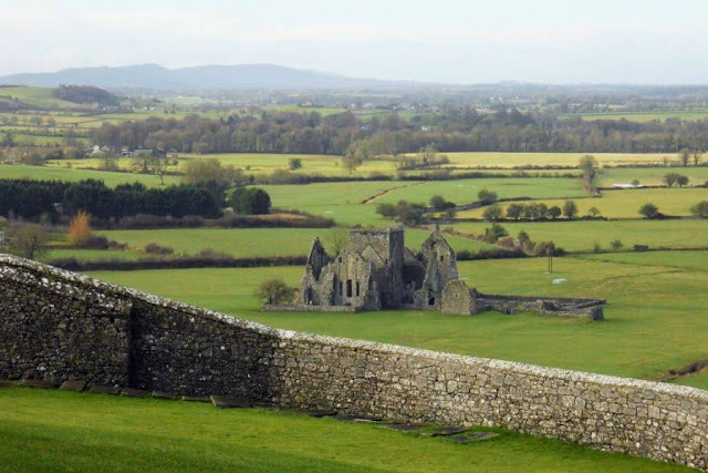 Dublin to Tipperary Road Trip: View from Rock of Cashel to a ruined church