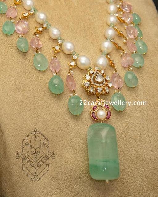 Polki Diamond Drops Necklace