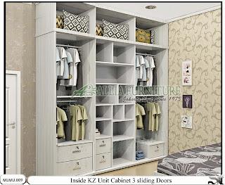 Dalam lemari minimalis pintu geser model cabinet unit KZ