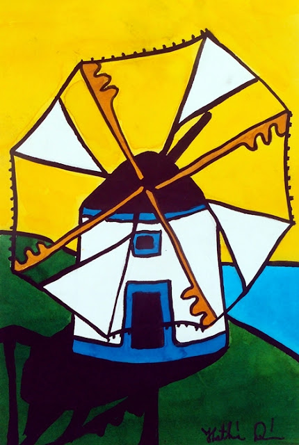 Portuguese Singing Windmill painting by Dora Hathazi Mendes