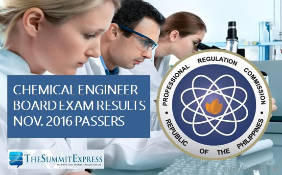Chemical Engineer (ChemEng) board exam results November 2016