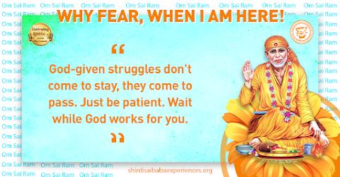 Struggles - Sai Baba Blessing Hand Sitting Posture Painting Image