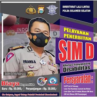 Direktorat Lalu Lintas Polda Sulsel Berikan Pelayanan Penerbitan SIM D