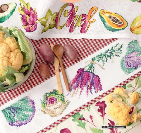 Schemi a  punto croce per canovaccio, grembiule e tunner con le verdure