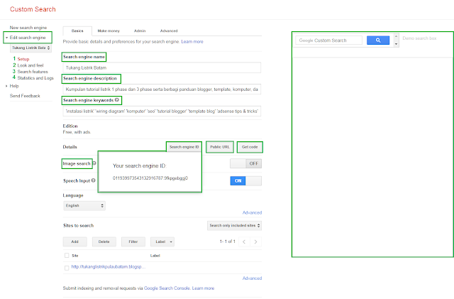 Setelah menciptakan google custom search engine  Cara Setting Google Custom Search Engine