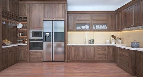 Tủ bếp kết hợp kệ trang trí