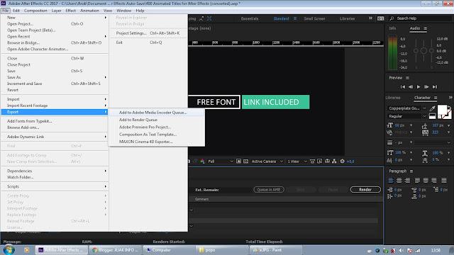 simpan vidio dengan menggunakan adobe media encorder