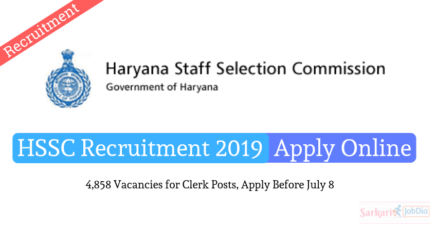 HSSC Clerk Recruitment 2019