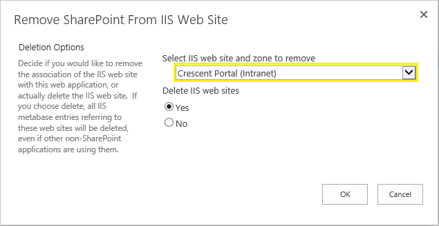 sharepoint delete web application zone