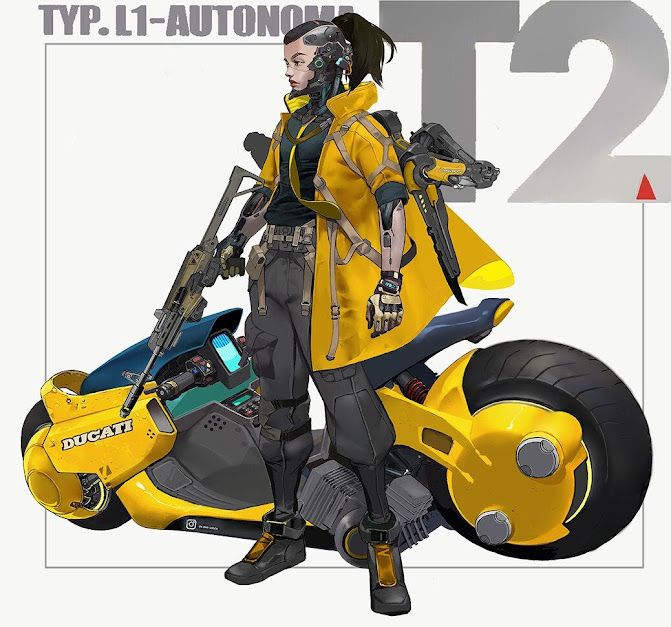 Cyberpunk Ducati - Illustration by Hu Ye