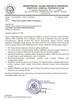 Surat Pengantar Aplikasi USBN-BK di Madrasah (Termasuk MI)