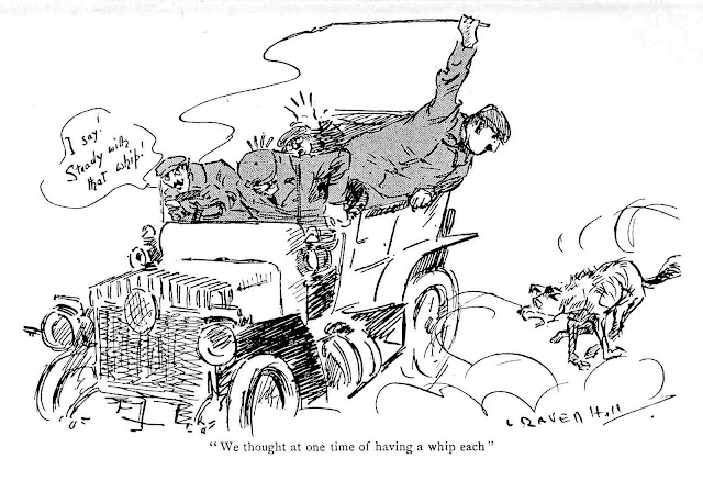an L. Raven Hill cartoon from 1909, about a dog chasing men in a car
