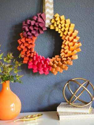A gorgeous fall wreath from cardstock