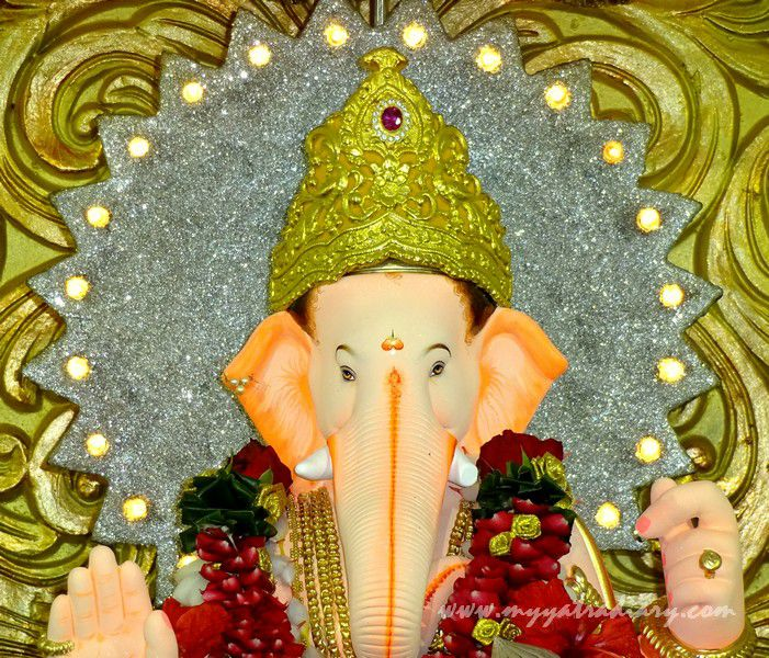 Ganesha decked in flowers at City's oldest pandal- Keshavji Naik chawl, Girgaon Mumbai