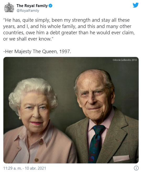 La Familia Real ha compartido una cita conmovedora de la Reina sobre el Duque de Edimburgo