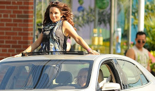 Alice Zenobia Richmond's mom Tina stands up in a car driven by Amy Poehler on set of new film The Nest