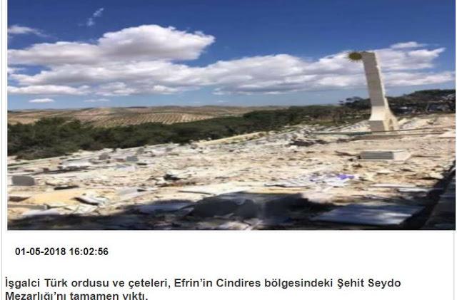 Συρία: Ο τουρκικός στρατός καταστρέφει ακόμη και τα κουρδικά νεκροταφεία…