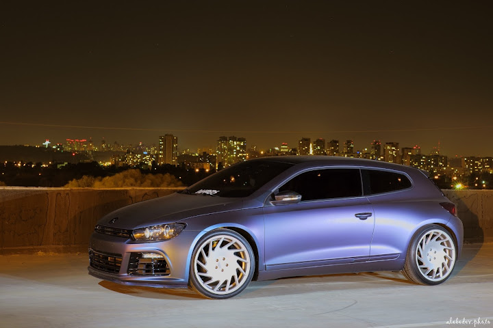 blue chameleon plastidip vw scirocco 1.8 tsi on vossen vle1 wheels