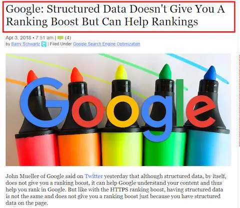 Structured data is not a ranking factor