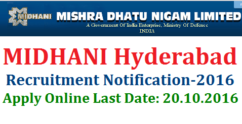 MIDHANI Hyderabad Recruitment Notification 2016 Apply Online midhani-hyderabad-recruitment-notification-apply-online MISHRA DHATU NIGAM LIMITED (A Government of India Enterprise) (A Mini Ratna-I Company) Regd. Office: P.O. Kanchanbagh, Hyderabad-500058.MIDHANI, a Mini Ratna-I and an ISO 9001-2008 company, is a hi-tech Metallurgical industry under the administrative control of Ministry of Defence, engaged in the manufacture of superalloys and special steels, titanium alloys in various mill forms and shapes for strategic sectors like Defence, Space, Atomic Energy and also for Commercial sectors. The company has about 800 employees. The present turnover of the Company is over Rs. 750 Crores. The Company requires Skilled Manpower