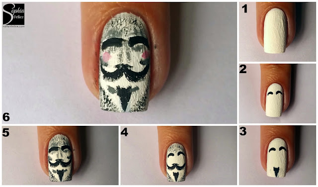 tutorial nail art v for vendetta 02