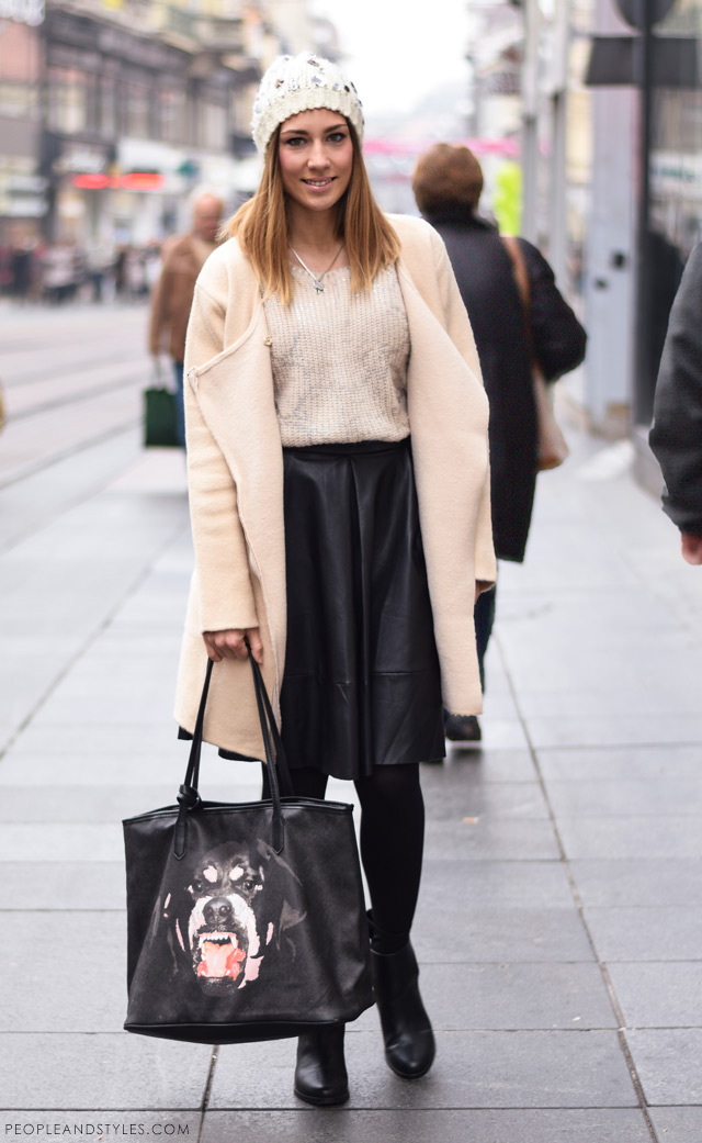 What to wear when temperatures dip close to sub-zero - few stylish street fashion inspiration to inspire your daily outfits. Petra Škoda Štrok, Givenchy dog bite bag