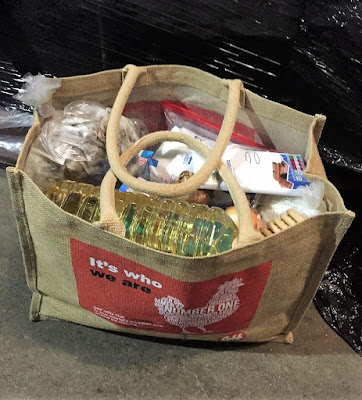 Bag of food aid for refugees in the Calais Jungle